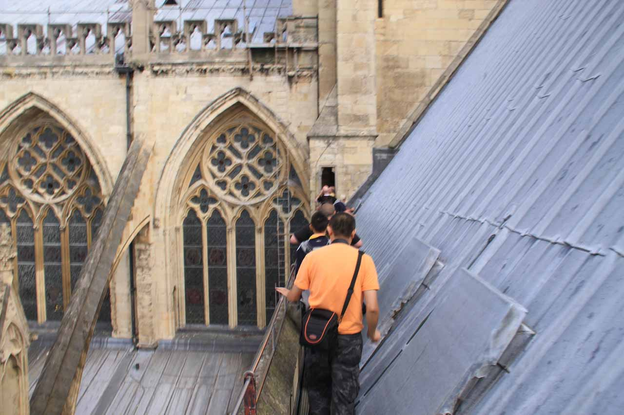 Single-file line to the top of York Minster