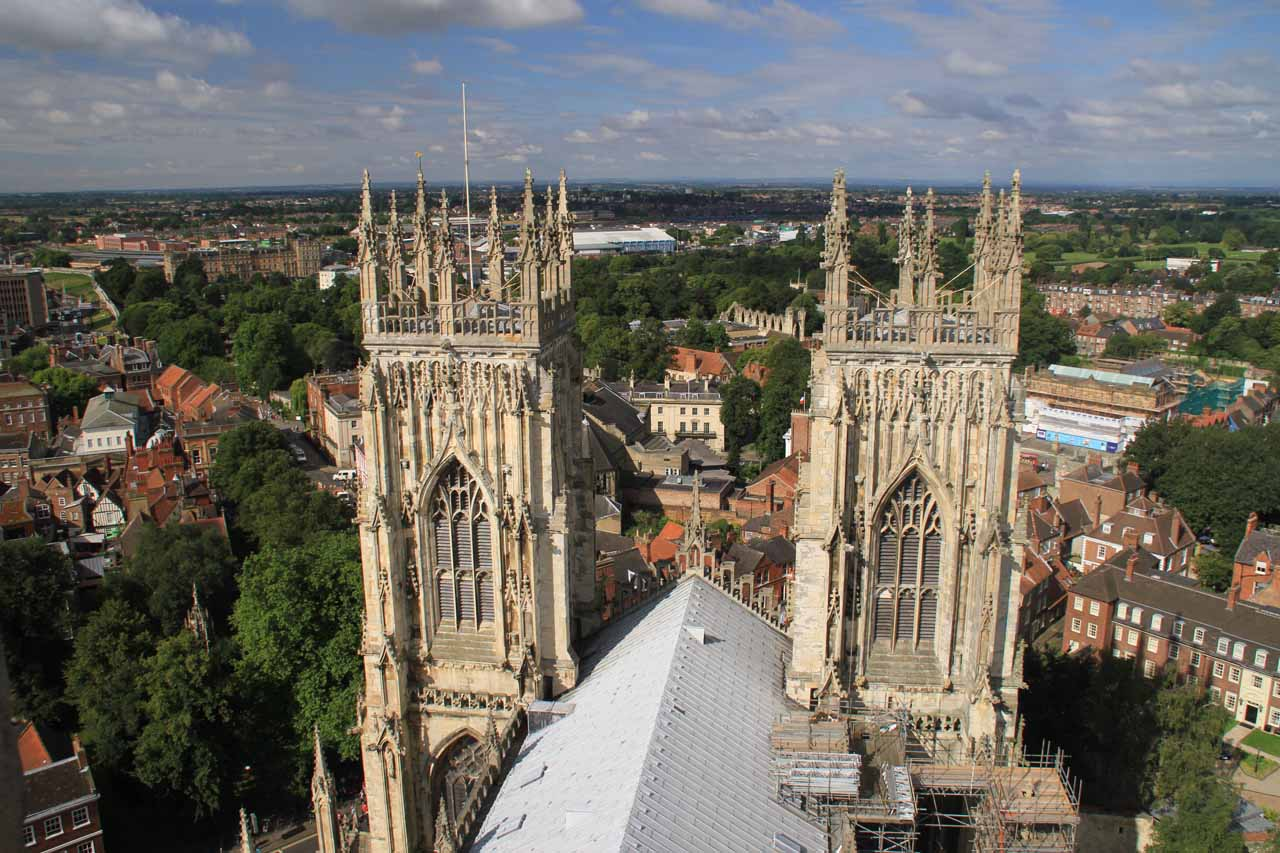 Looking down towards the twin spires of the York Minster from the top
