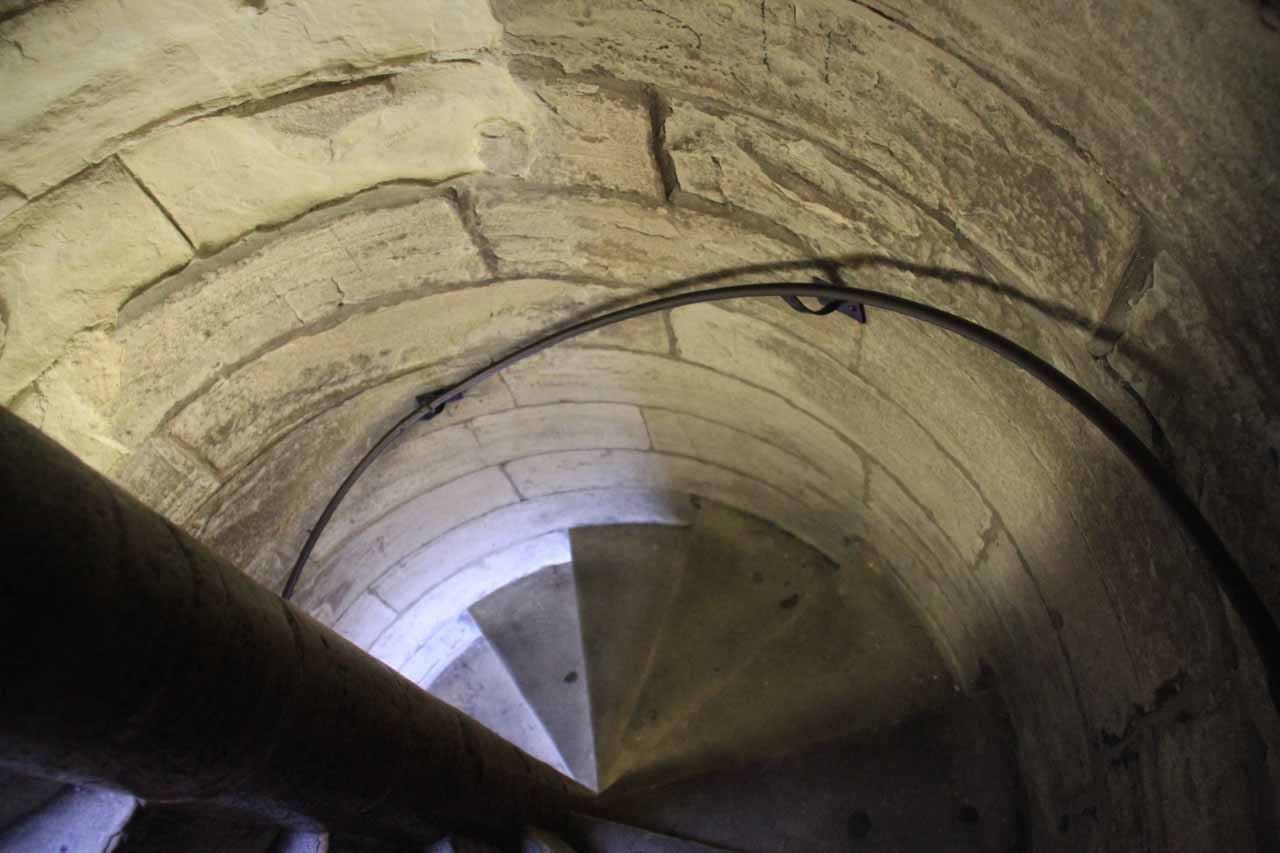 The tight spiral steps leading up and down the tower of York Minster