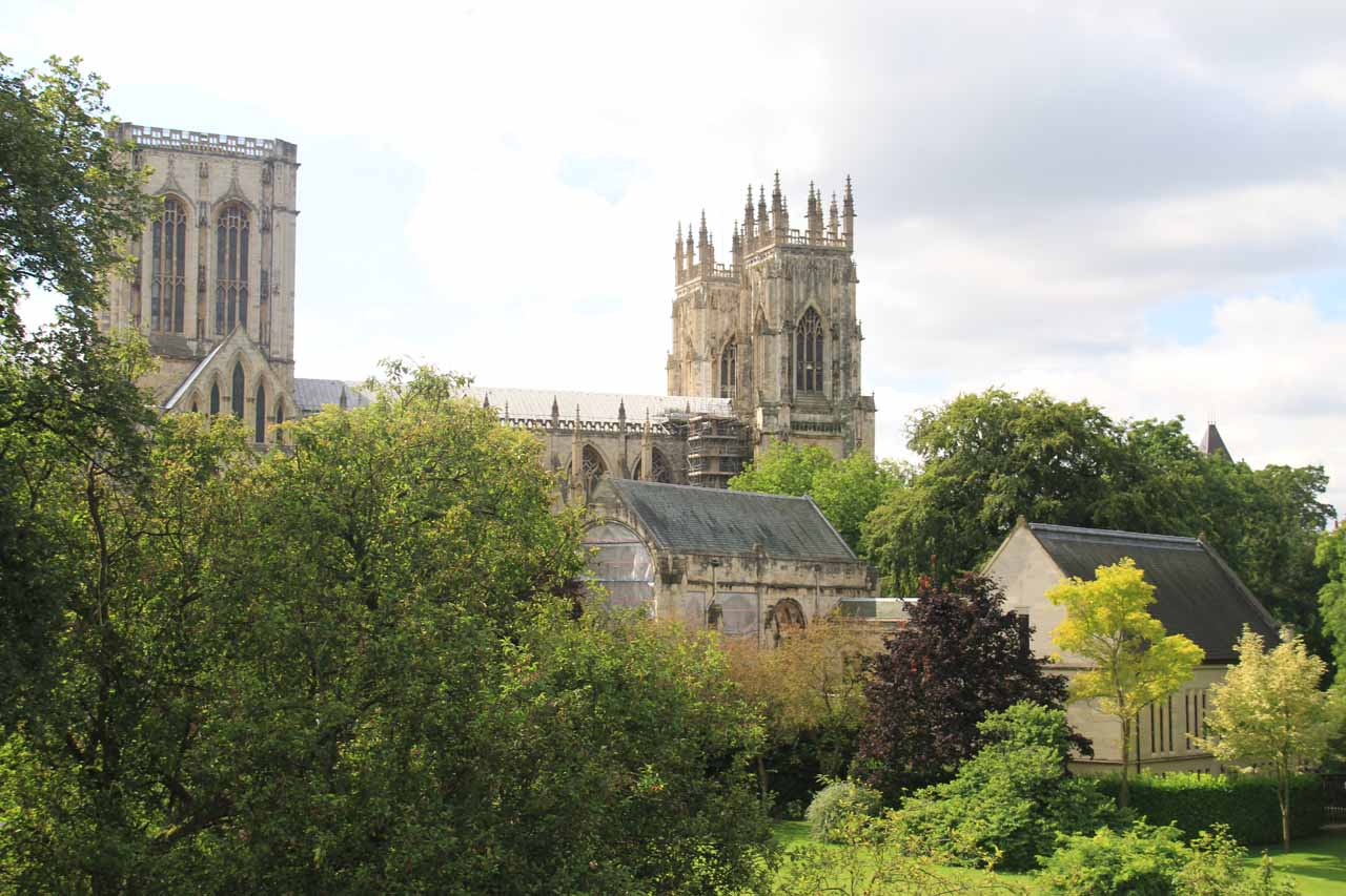Looking back towards York Minster from the ramparts