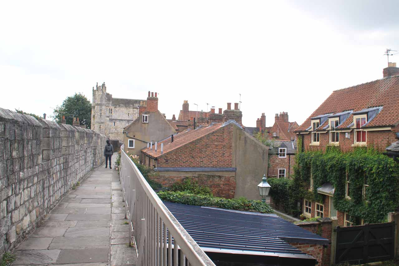 Walking along the ramparts of York