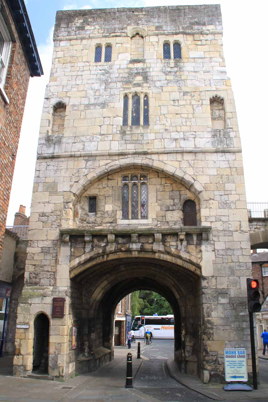 One of the arched entrances to the city centre of York