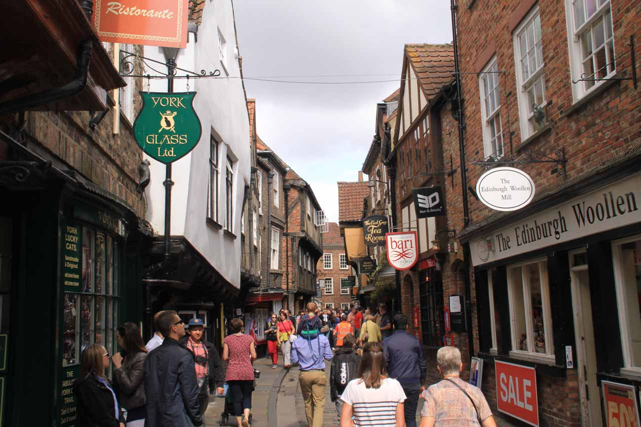 Walking the busy city centre of York