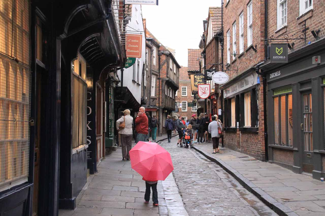 Tahia with her own umbrella as we headed towards the Shambles