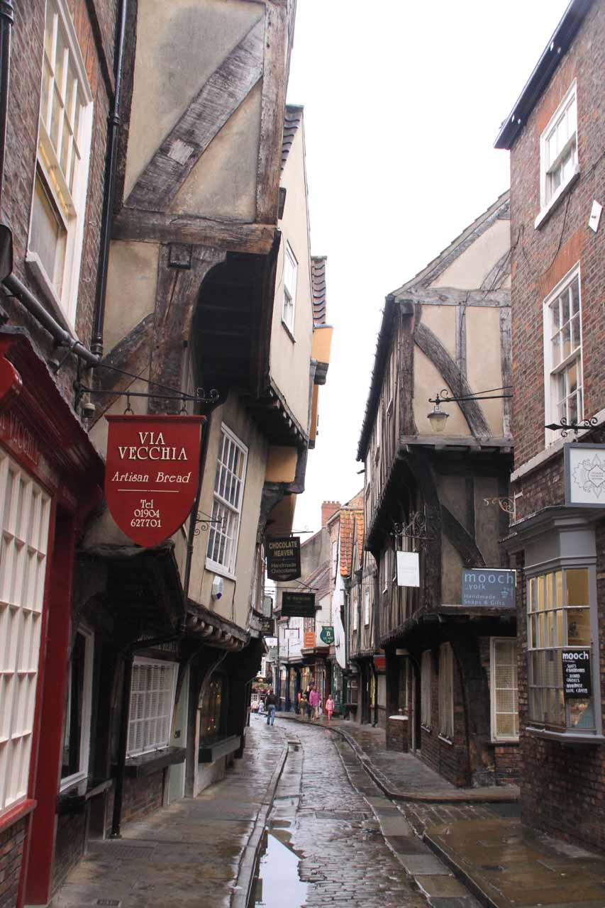 A quiet Shambles where we could see the lean of the buildings more readily now