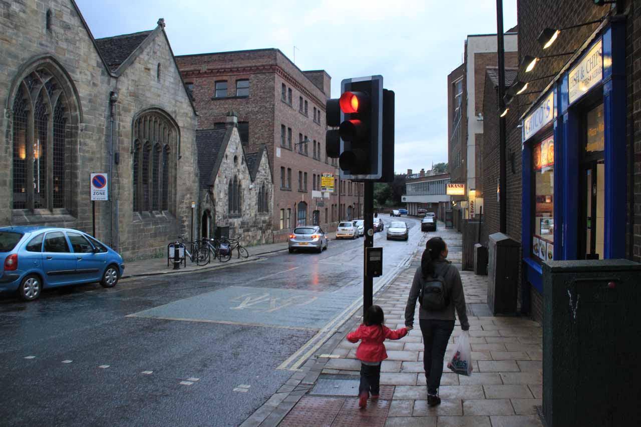 Julie and Tahia heading back to the hotel in York