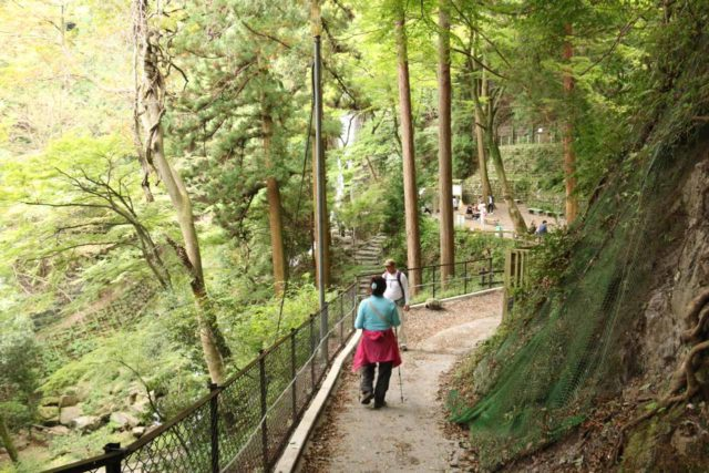 Yoro_Falls_019_10212016 - Dad and Mom on the walkway approaching a rest area by the Yoro Waterfall