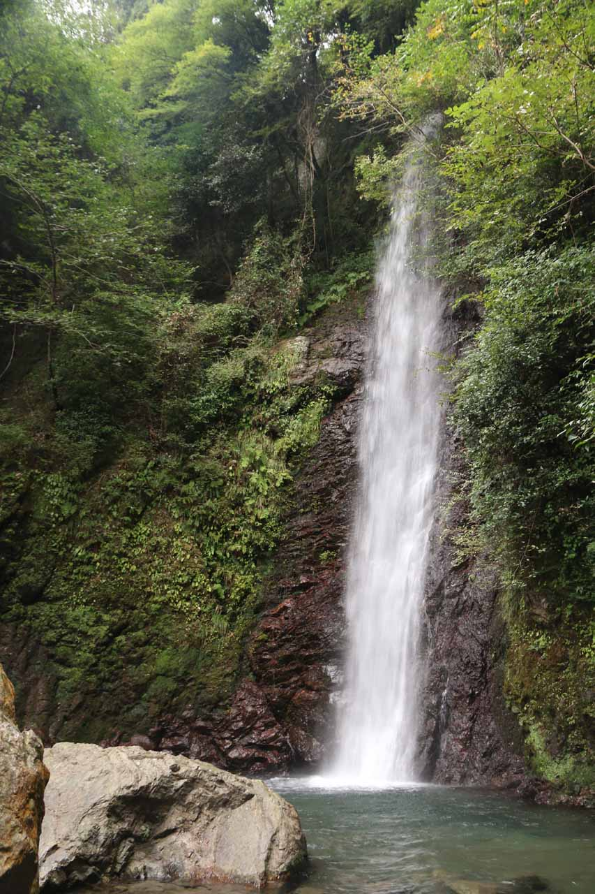 Our first look at the main drop of the Yoro Waterfall