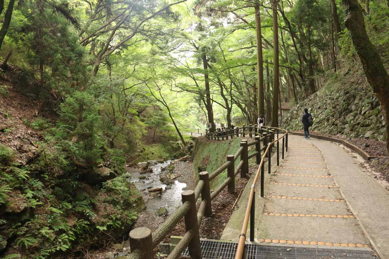 Walking further down the family-friendly path alongside the Takidani