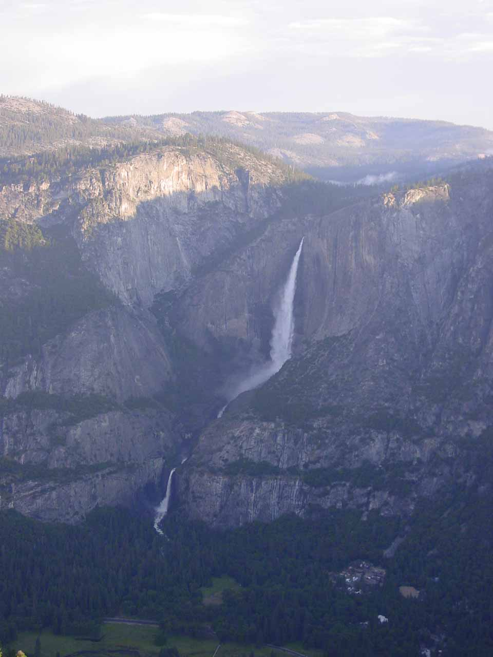 Yosemite Falls from Glacier Point at sunrise in June 2002