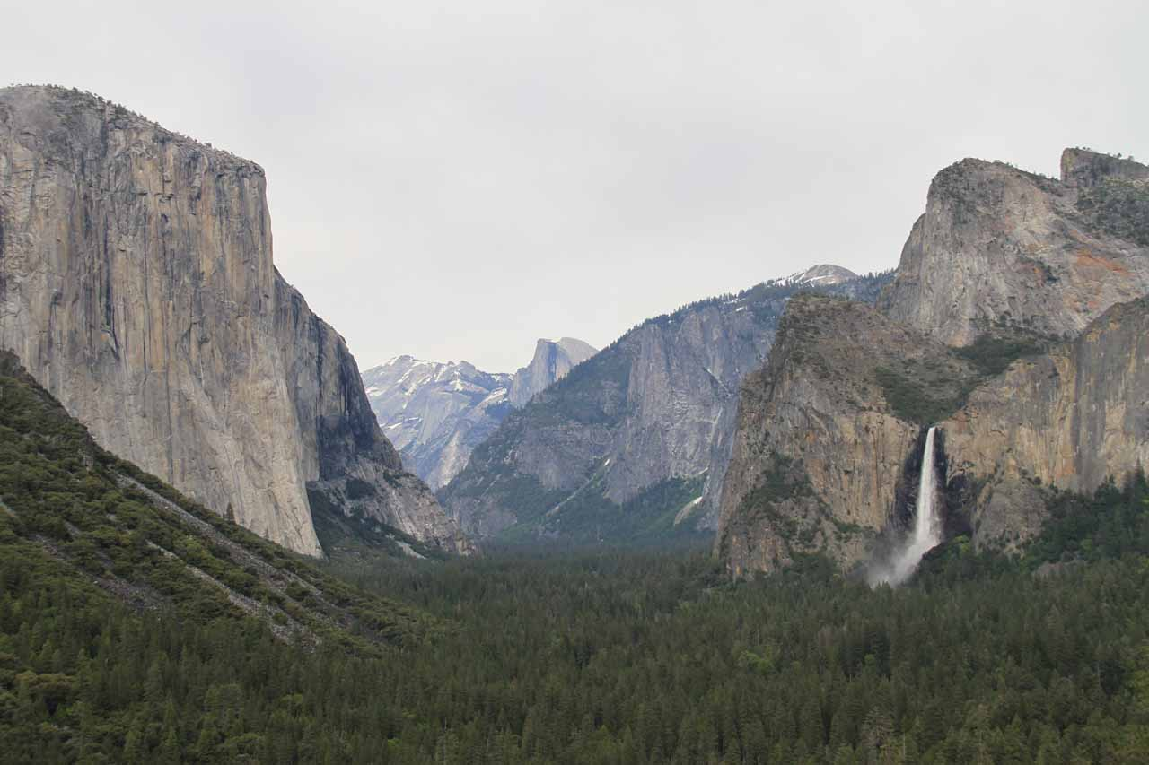 A recent look at the Gates of Yosemite Valley under overcast skies in 2011