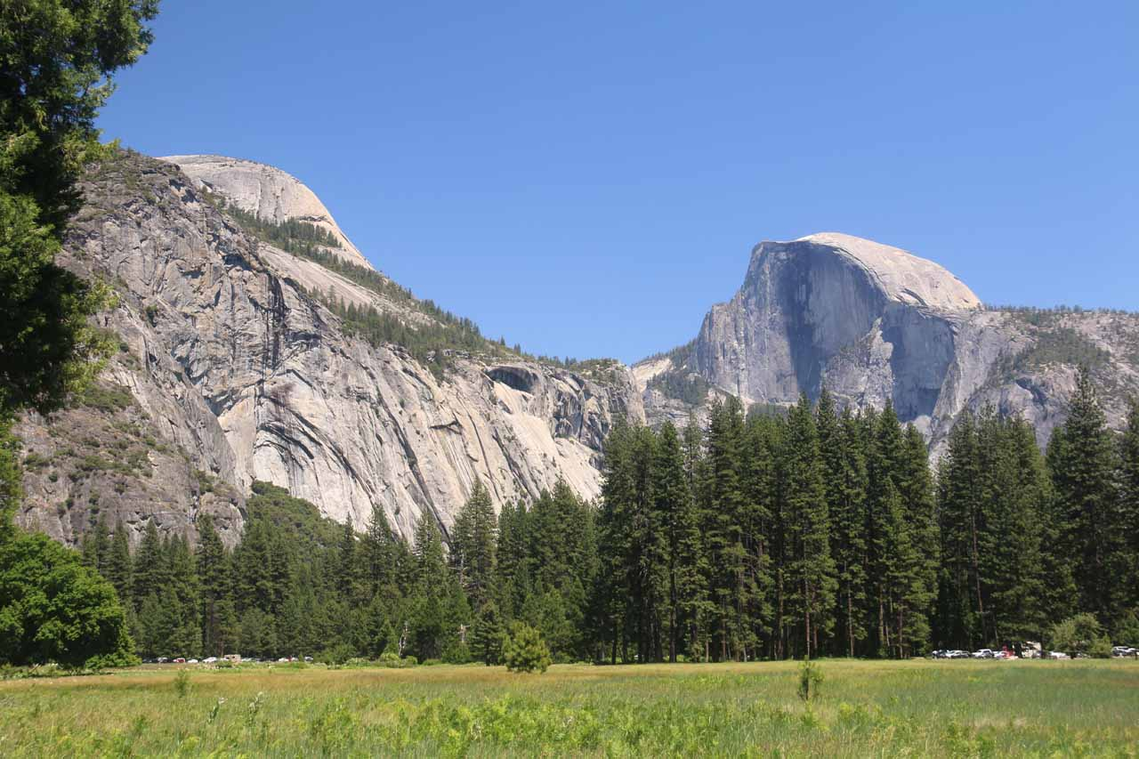 While strolling along one of the trails criss-crossing Cook Meadow, we managed to get this pleasingly open view of Half Dome with North Dome right across from it above the Royal Arches