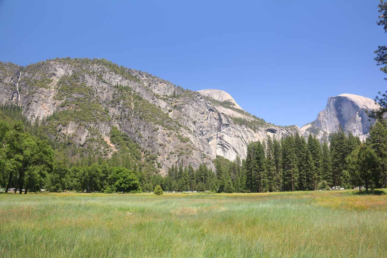 Context of Lehamite Falls as seen from Cook Meadow. That's Half Dome to the far right and North Dome towards the middle
