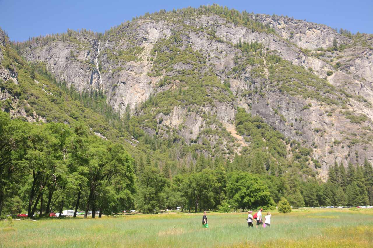 I wonder if these people hiking in Cook Meadow even were aware of Lehamite Falls in the background