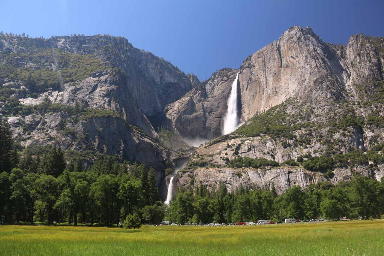 Yosemite Falls from Cooks Meadow in Summer