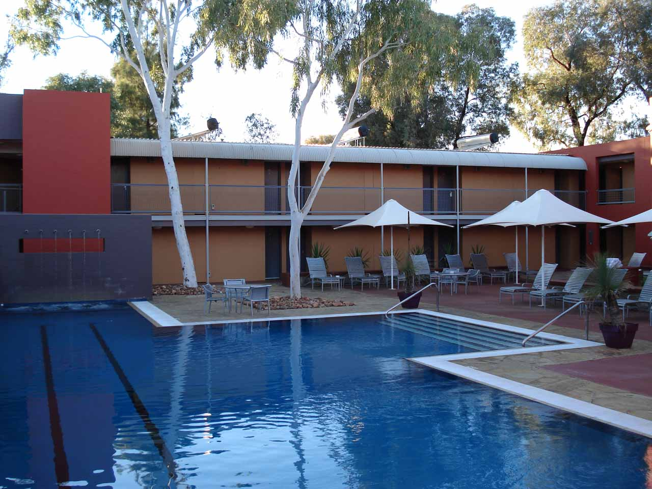 The swimming pool at the Lost Camel Hotel in Uluru