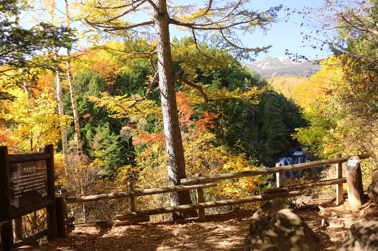 Context of the lookout yielding a view of Zengoro Falls and Mt Norikura together
