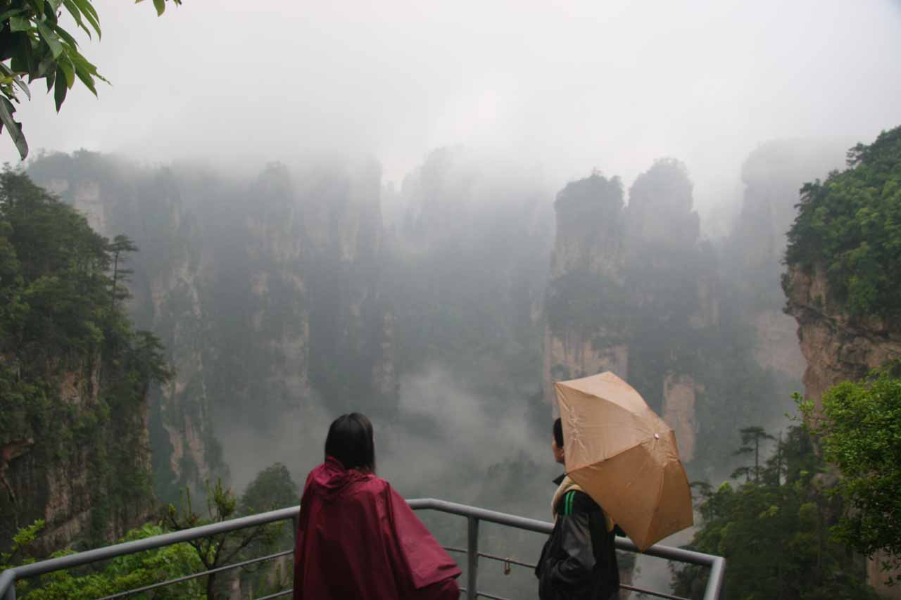 Julie and Jackey at an overlook at Zhangjiajie