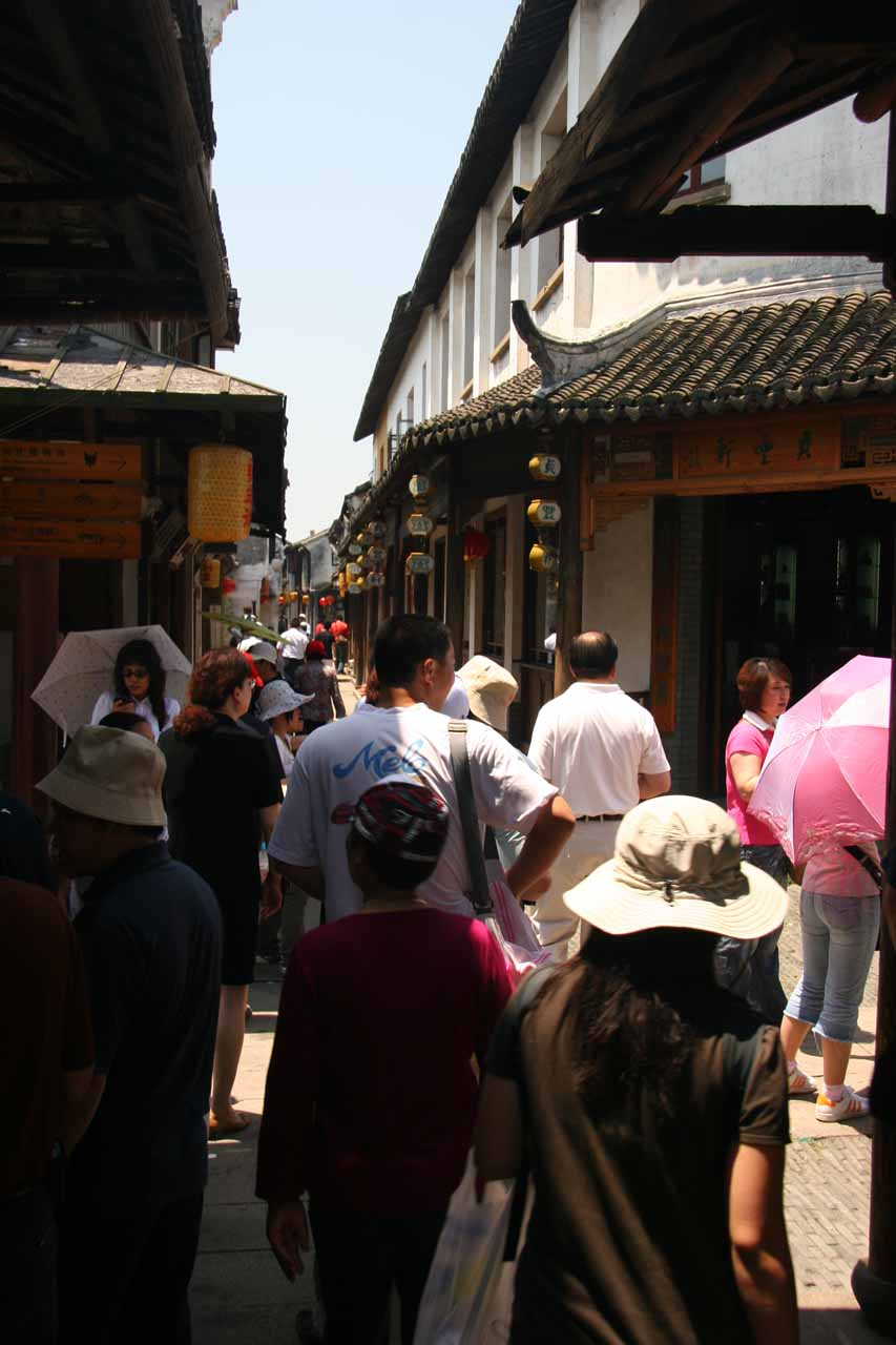 Julie weaving through the crowds at Zhouzhuang