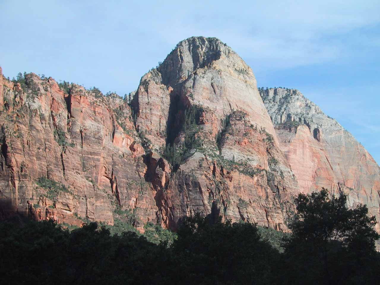 Looking across the canyon at the Watchman from the Emerald Pools that same afternoon in June 2001