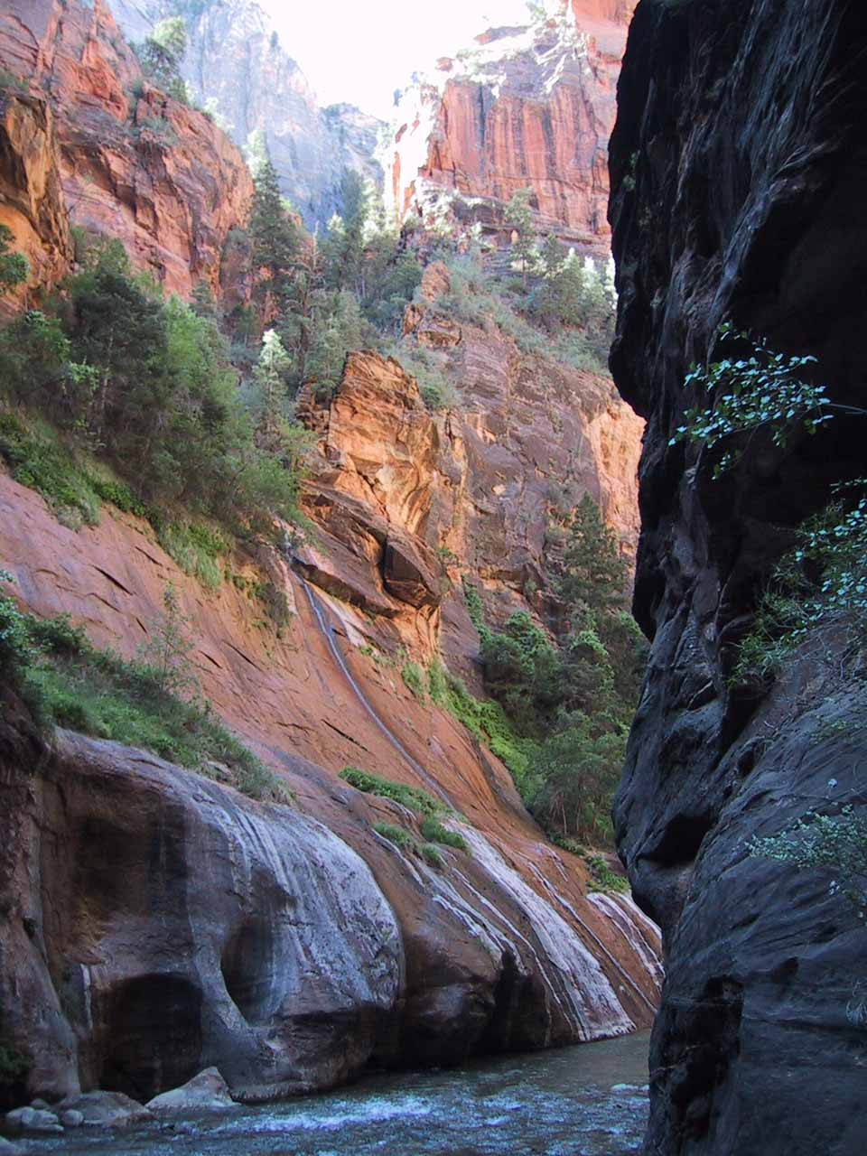 Looking back at the waterfall from Mystery Canyon in 2001