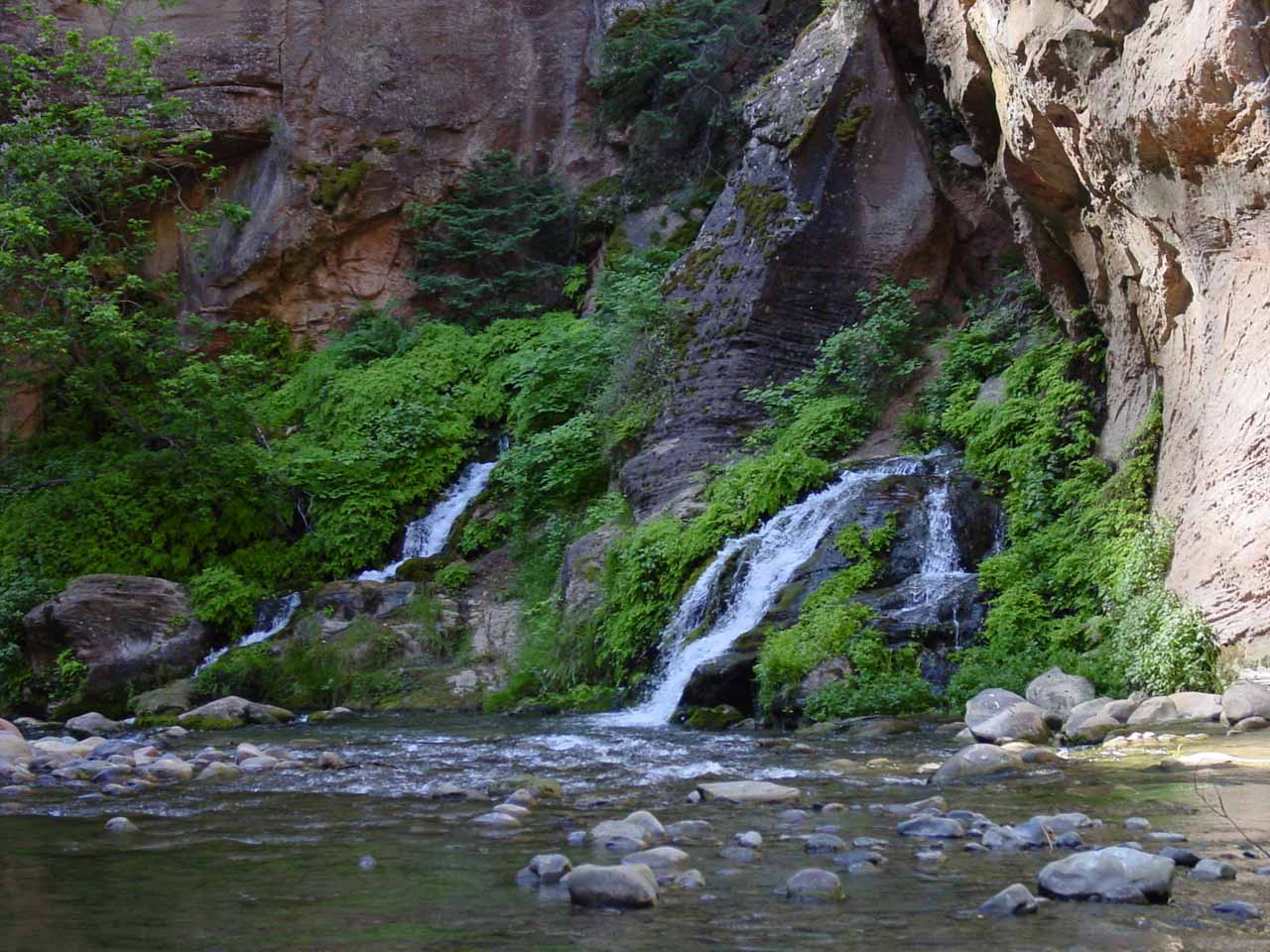 Big Springs, one of a handful of waterfall attractions and obstacles within the Zion Narrows