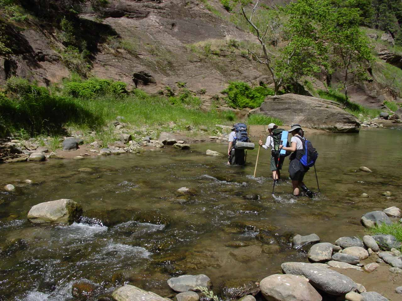 More sloshing our way through the Virgin River as sun had penetrated its depths