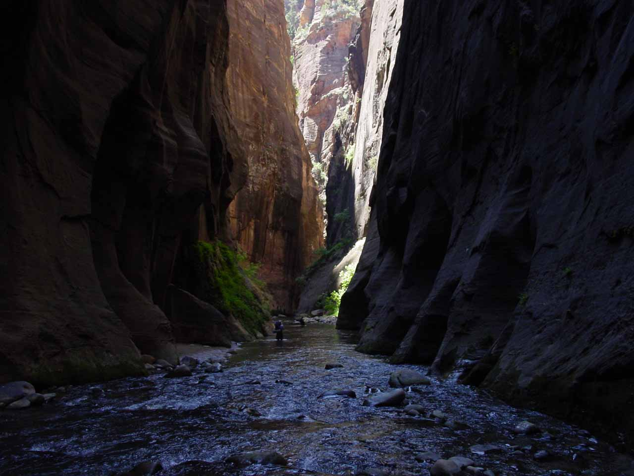 At this point of the hike, we were able to leave the shadowy depths of the narrowest part of the Lower Narrows and enter the more lit sections of the gorge