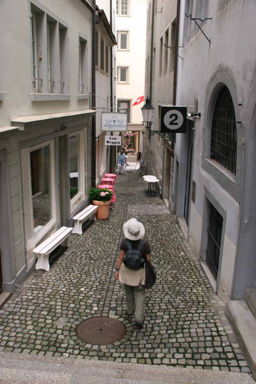 Narrow cobblestone streets