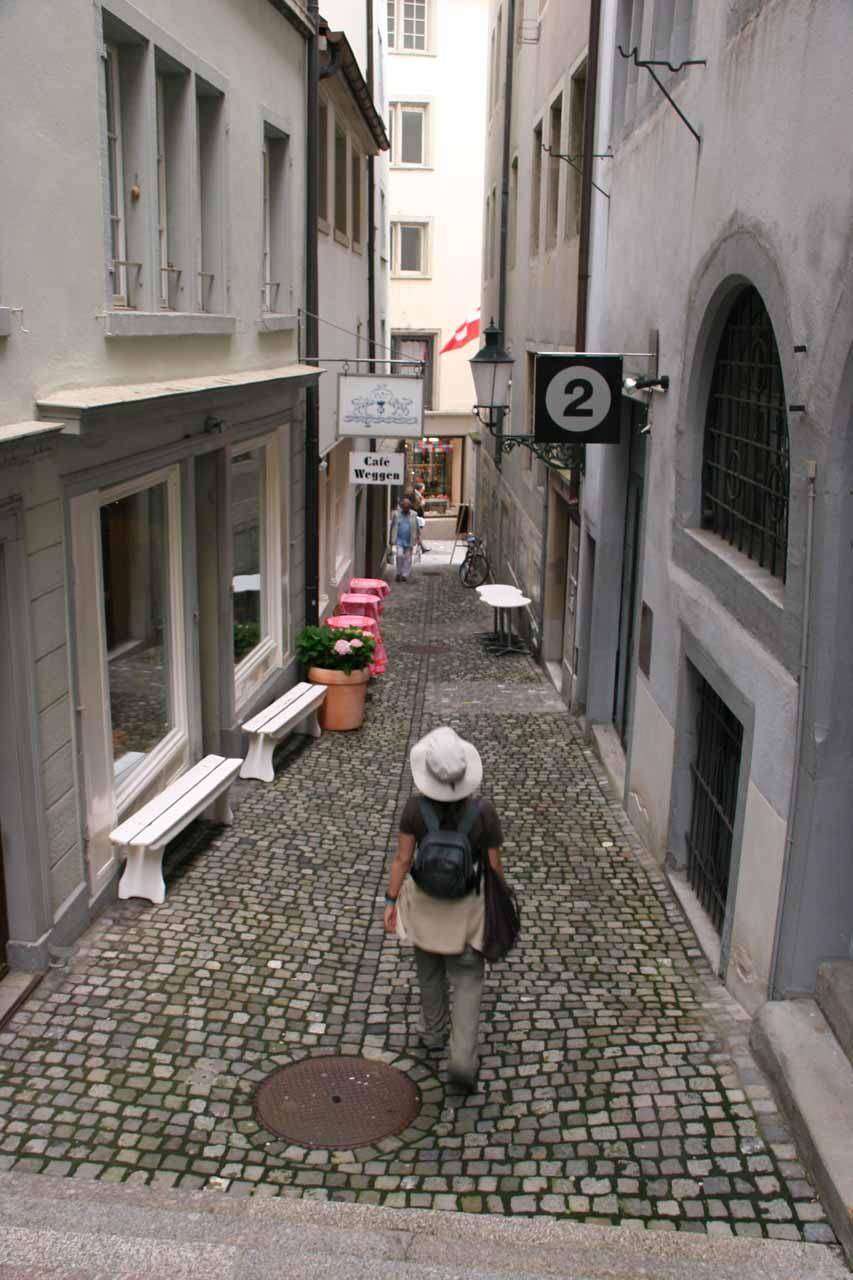 Narrow cobblestone streets