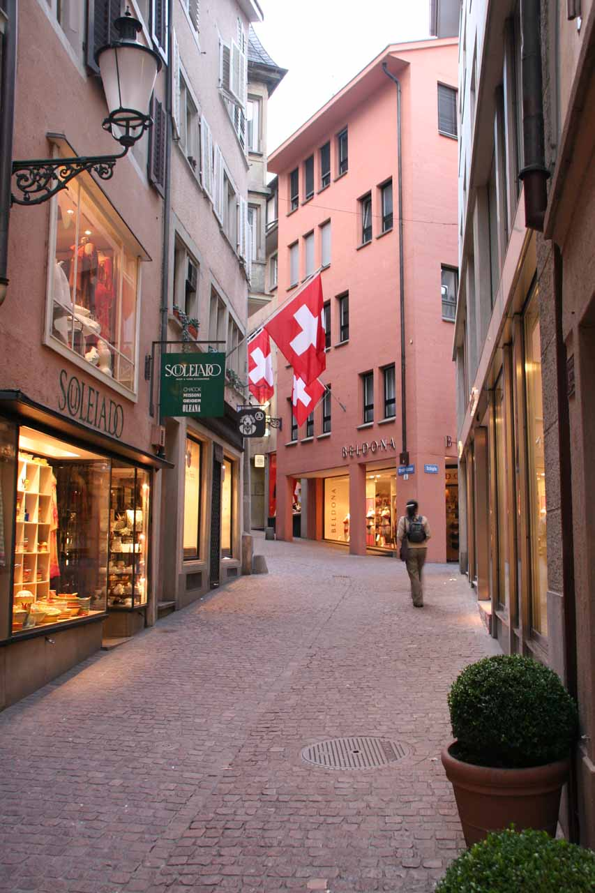 Strolling the now-quiet streets of Zurich