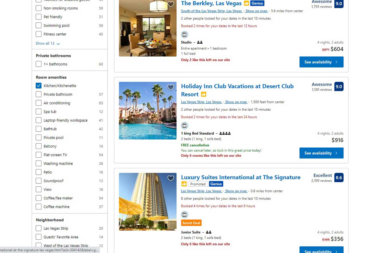 Refining the search results listing with specific amenities (e.g. a kitchen for self-catering)