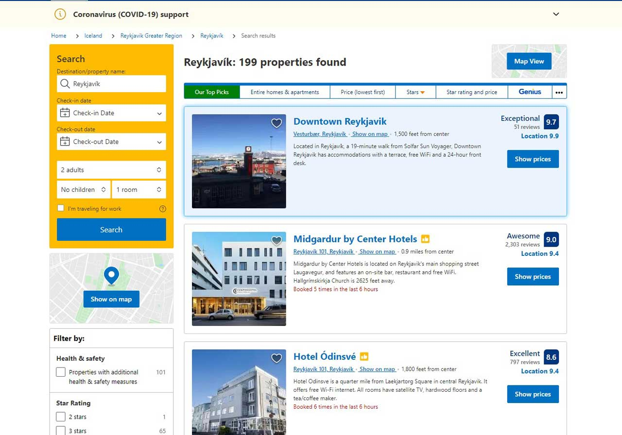 A typical search results page after entering search criteria (entering only location in this instance)