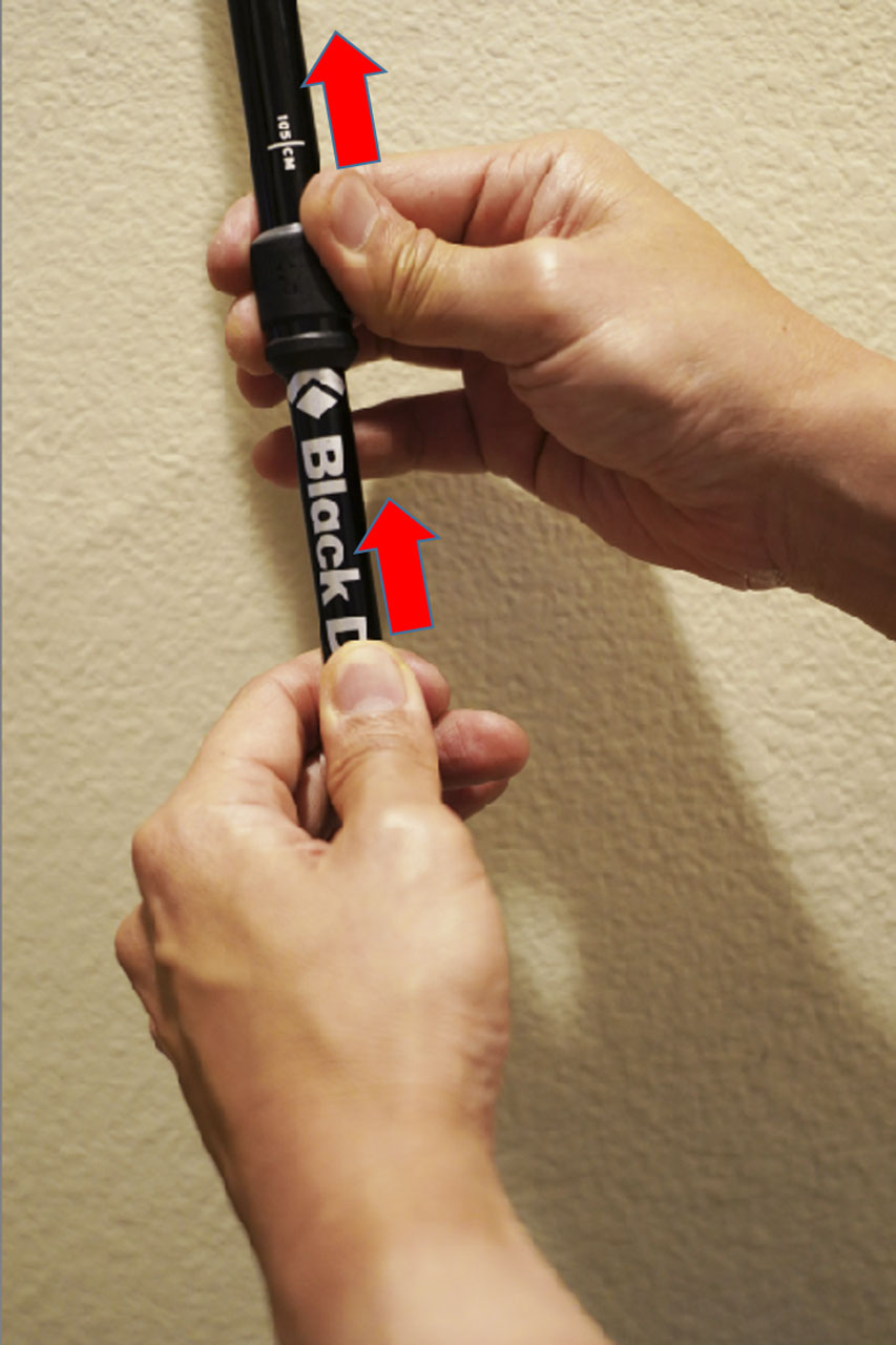 The key step to compacting the Black Diamond Distance FLZ trekking pole and readying it for non-use