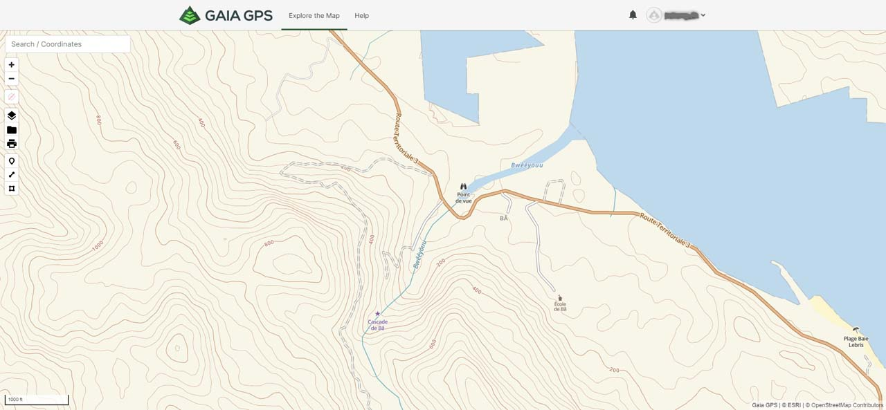 The base layer of the Gaia GPS topo map, which shows significantly more detail about Cascade de Ba including the waterfall's location