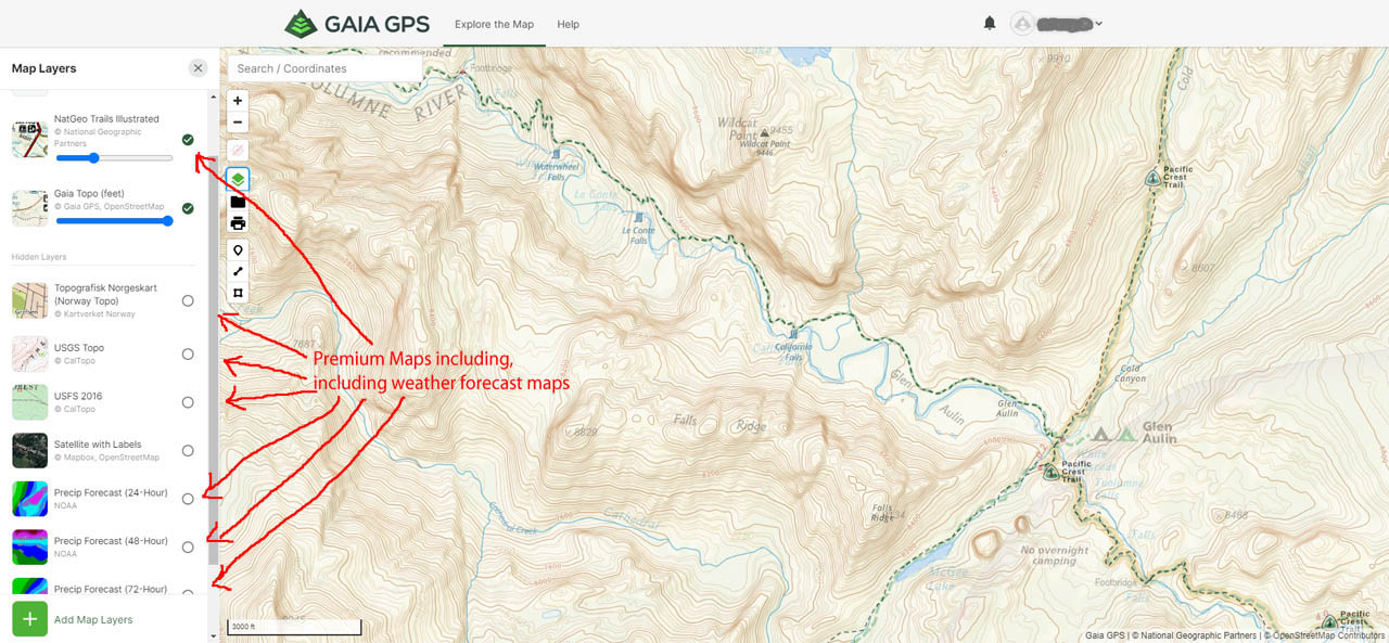 Premium Map Layers on the Gaia GPS website