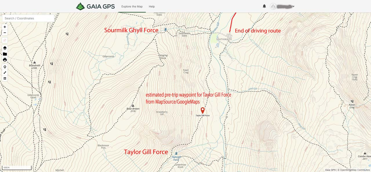 This is a map on Gaia GPS where I had superposed tracks logged by my Garmin Nuvi GPS after coming home from a trip to the UK. Imagine if I had access to Gaia GPS back then how I wouldn't have mistaken Sourmilk Ghyll Force for Taylor Gill Force
