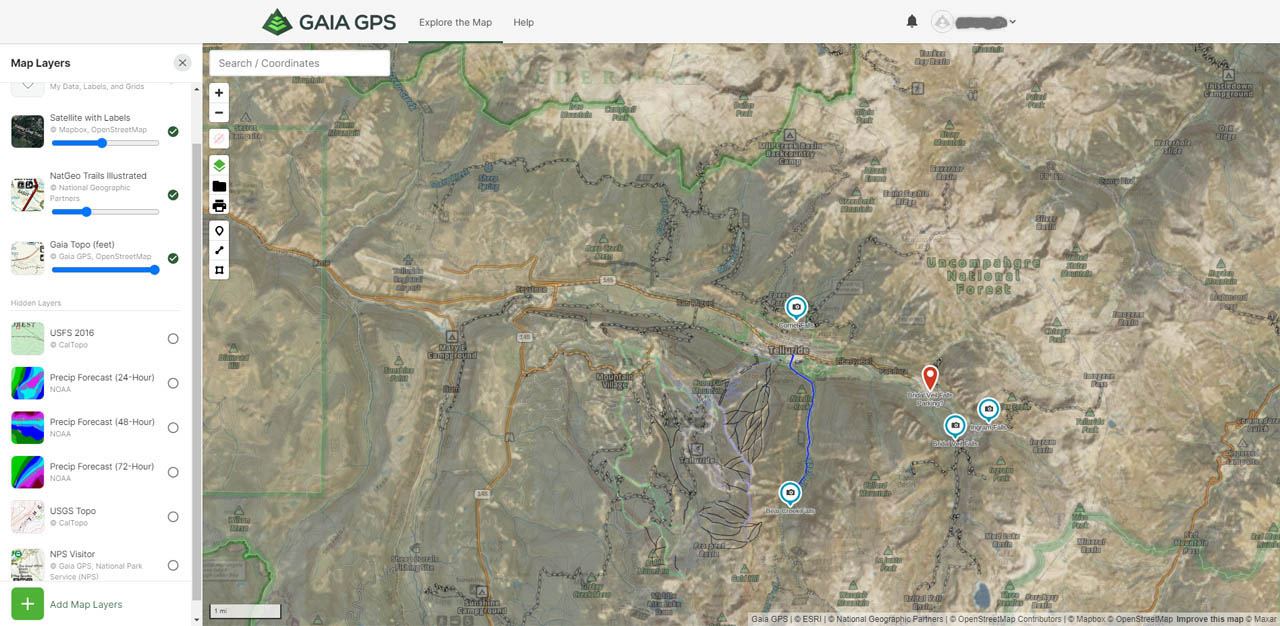 Gaia GPS viewed on the gaiagps.com website for trip planning purposes with premium layers on top of the base layer