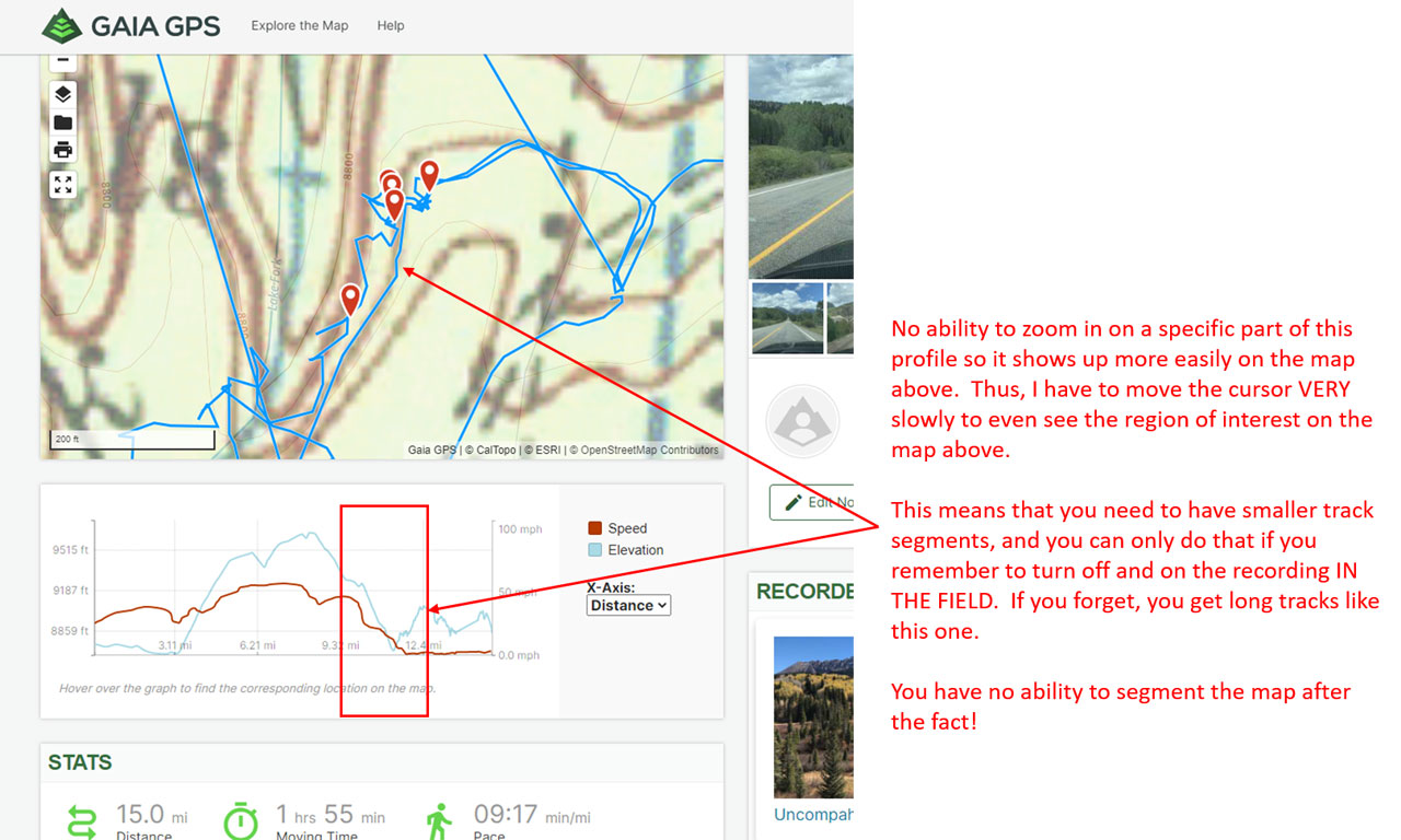 Another example of a poor interface on Gaia GPS' online map for something as simple as analyzing a segment of a track recorded by Gaia GPS on the iPhone