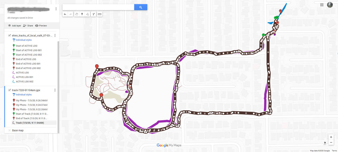 Screen shot of the tracks from my walk at the local park downloaded from the iPhone via Gaia GPS and exported to Google Maps. Compared to the Garmin etrex Venture HC, the phone had way more track points