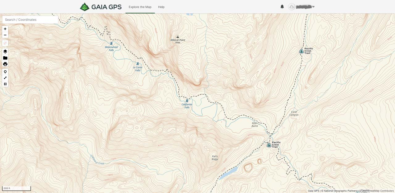 This was the view of Gaia GPS at Waterwheel Falls. Imagine if I had this information with me on my iPhone though its battery life on a 3-day 2-night backpack might have been an issue