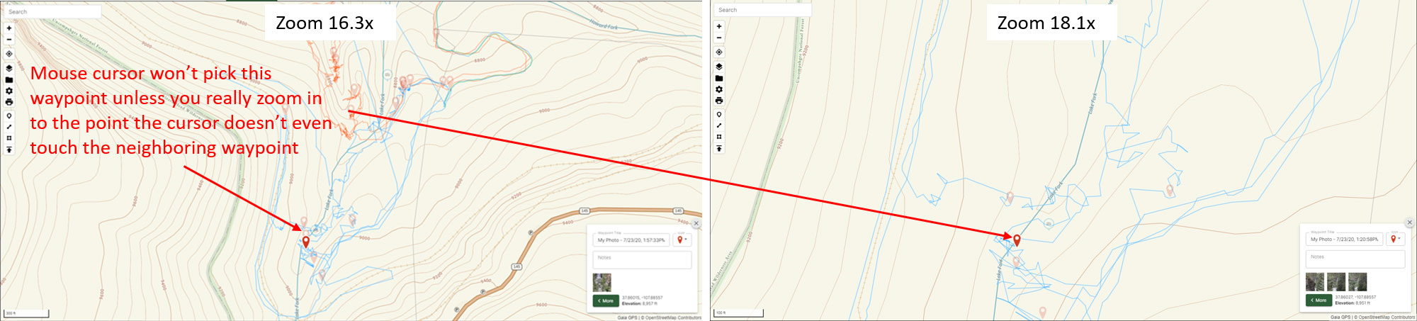 An example of a poor interface on Gaia GPS' online map for something as simple as selecting a waypoint