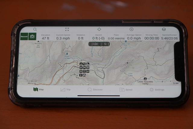 Looking at my iPhone with the Gaia GPS app oriented in landscape