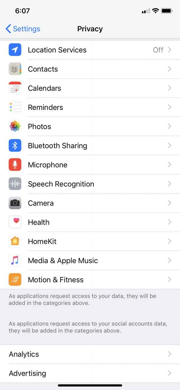 Privacy settings menu on the iPhone, which we have to fumble with quite a bit every time we want to switch between using the GPS and not using it to minimize meta data leakage