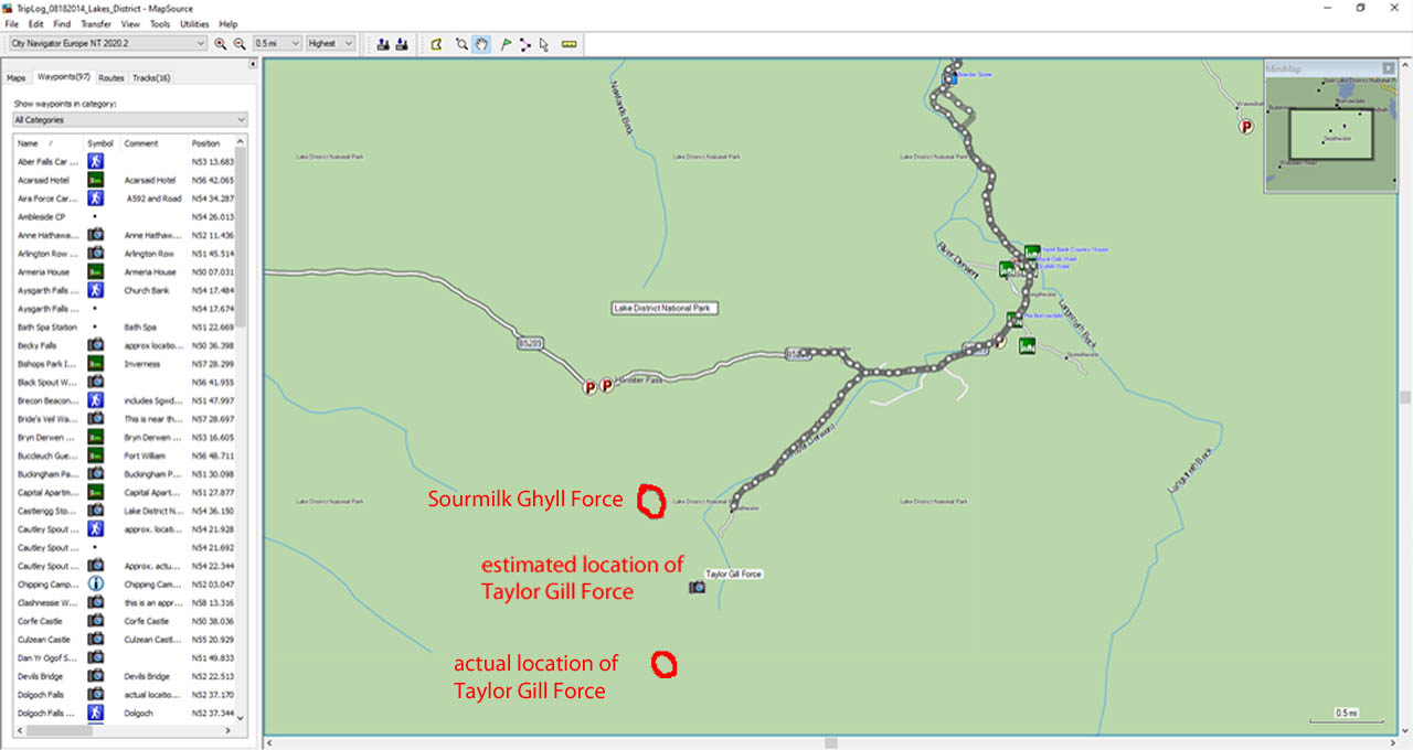 This is a map on MapSource, which lacked detail so it wasn't useful as far as trip planning was concerned. Notice how the post-trip tracks got me to the Sourmilk Ghyll Force, which easily made me mistaken it for Taylor Gill Force