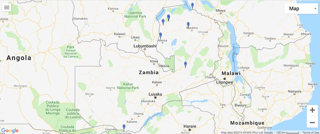 Zambia Waterfalls Map