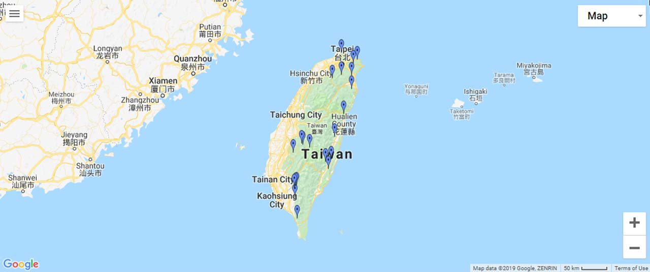 Taiwan Waterfalls Map