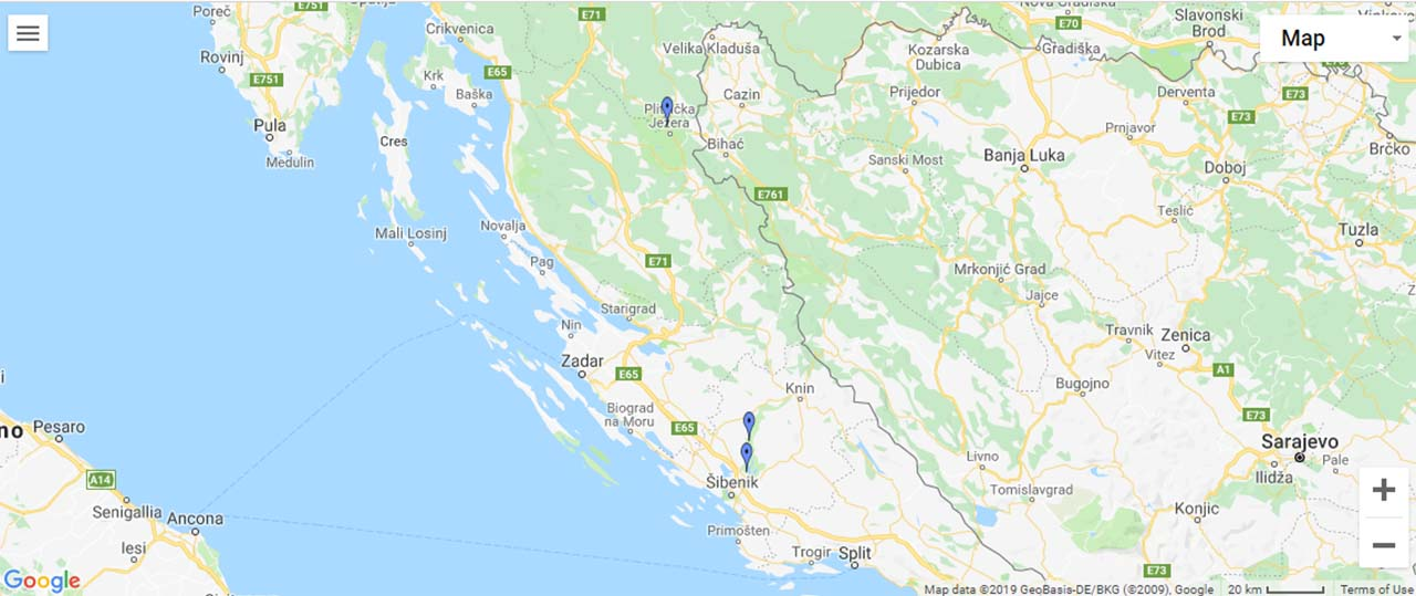 Croatia Waterfalls Map