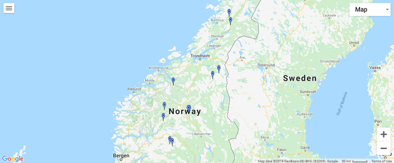 Central Norway Waterfalls Map