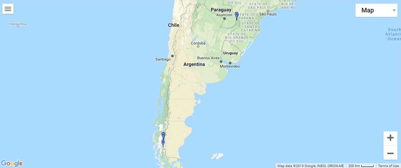 Argentina Waterfalls Map
